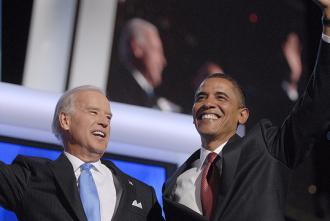 Barack Obama and Joe Biden at the DNC in 2008