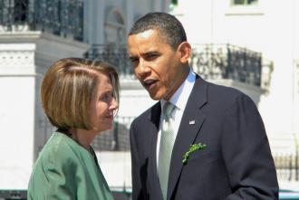 President Obama confers with House Speaker Nancy Pelosi outside the Capitol building (Monique Cala)