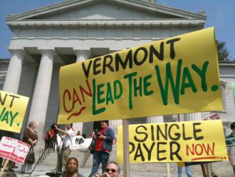 Vermonters rally in support of health care legislation outside the state Capitol building