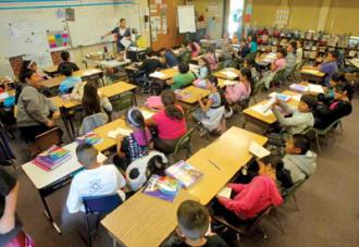 A crowded elementary school classroom in California