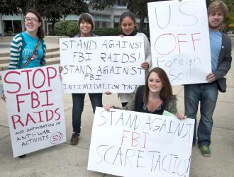 Students protest the recent FBI raids on activists' homes in Minnesota, Illinois and North Carolina