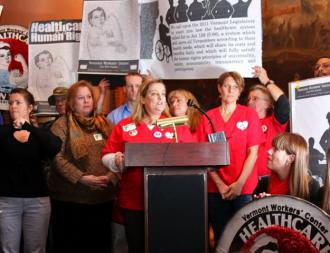 Advocates for single-payer health care rally at Vermont's state house in early January (Jobs with Justice)