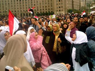 Egyptians fill Tahrir Square for a protest in early February (Al-Jazeera English)