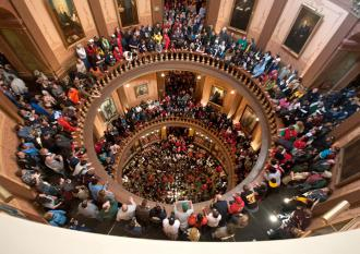 Michigan's Capitol building during a protest in mid-March (Benjamin Slayter)