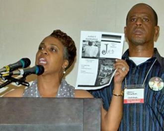 Jeralynn and Adam Blueford speak out at Socialism 2012 for their son, who was killed by Oakland police (SW)