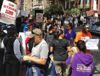 Striking nursing home workers are joined in a picket by NYC student activists (USAS)