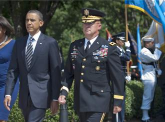 President Obama at a ceremony with Major Gen. Karl Horst (Chad J. McNeeley)