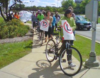 Participants in the Labor Day weekend bike ride for immigrant rights