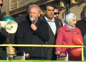 George Galloway addresses supporters after winning a by-election for Britain's parliament