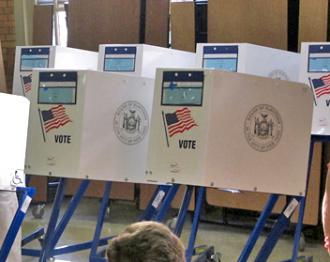 Voting booths set up for early voting in New York state (Joe Shlabotnik)