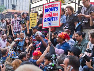 Members of Transit Workers Union Local 100 address the crowd at the Occupy Wall Street encampment (Mat McDermott)