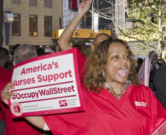Nurses bring their solidarity to Occupy Wall Street (Bob Jagendorf)