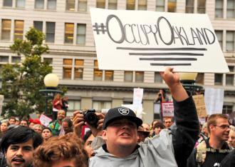 Occupy Oakland protesters rally at Oscar Grant Plaza