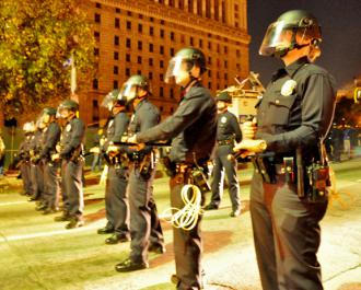 Los Angeles police prepare to raid the Occupy LA encampment
