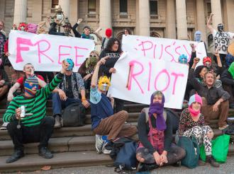 Activists in Melbourne, Australia, gather to show their support for members of Pussy Riot  (Mark Burban)