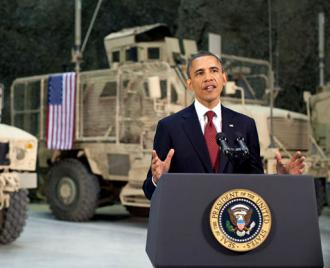 President Obama speaks at Bagram Airfield during a surprise visit to Afghanistan (Pete Souza | White House)