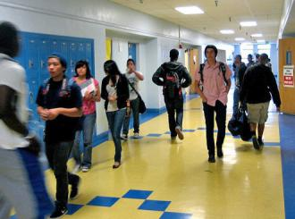 The hallways of Crenshaw High School in Los Angeles