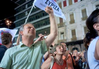 SYRIZA supporters gather in the streets to mark the results of a second parliamentary election (Mehran Khalili)