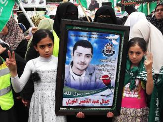 Families gathered in Gaza to rally in support of the hunger strikers (Joe Catron)