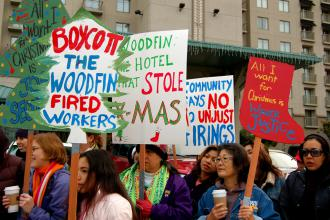 Woodfin Suites workers organized several rallies and pickets of the hotel while fighting for justice (Brooke Anderson)