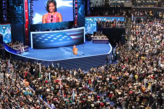 Michelle Obama addressing the Democratic National Convention in Charlotte (Steve Bott)