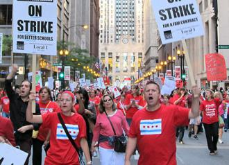 Chicago teachers march downtown on the first day of the stike