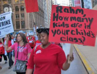 CTU protesters point out that Rahm's own children enjoy the learning conditions they are demanding for CPS students