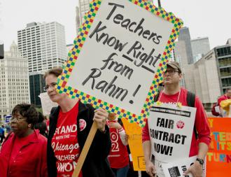 Striking Chicago teachers and their supporters rally against Emanuel's agenda for schools (Sarah-ji)