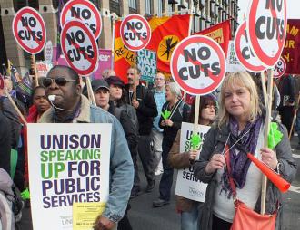 The London demonstration against austerity was estimated at 150,000 strong (Dean Thorpe)