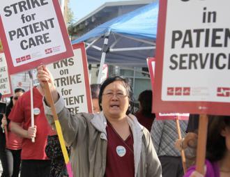 Striking nurses picket outside San Leandro Hospital (California Nurses Association)