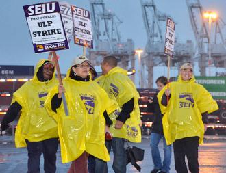 SEIU members picket at the Port of Oakland
