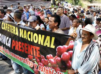 Striking coffee workers march and rally support