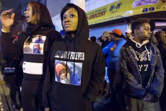 Protesters gather in East Flatbush after the police murder of Kimani Gray