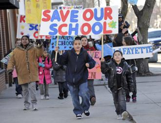 Students and parents at Lafayette Elementary School march against their school's threatened closure (Bill Healy)