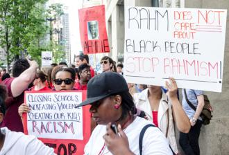 Parents and other activists march against racist school closures in Chicago (Sarah-ji)