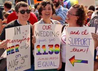 Celebrating outside the U.S. Supreme Court after the Defense of Marriage Act was struck down (Avelino Maestas)