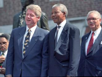 Nelson Mandela with Bill Clinton on a presidential visit to the U.S. in 1993 (White House)