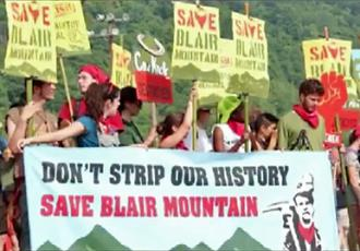 Protesters demand a halt to strip mining on Blair Mountain