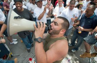 ConEd workers in New York City chant on the picket line