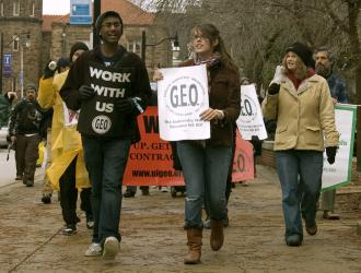 Members of the Graduate Employees Organization at UIUC during their 2009 strike (Chris Tuck)