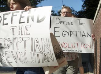 Several dozen people mobilized in solidarity with Egyptian revolutionaries against the military's latest move (Ari Paul)