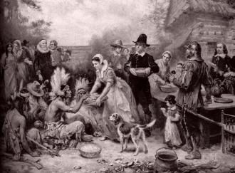 A drawing depicting the myth of the first Thanksgiving