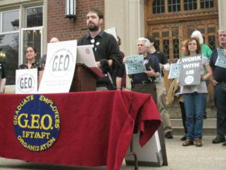 GEO employees hold a press conference before a 2009 strike