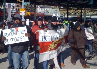 Some 200 Stella D'oro strikers and their supporters on the march in the Bronx (Brian Jones | SW)