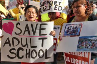 Activists rally in support of adult education on February 14 (Robert D. Skeels | SW)