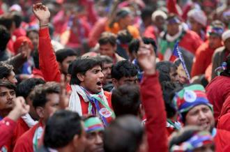 Workers in Delhi join in mass protests during the general strike