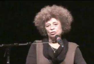 Angela Davis speaking at the celebration of Alan Blueford's life