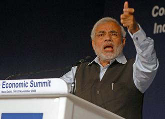 Narendra Modi speaks at a World Economic Forum meeting in New Dehli (Norbert Schiller | WEF)