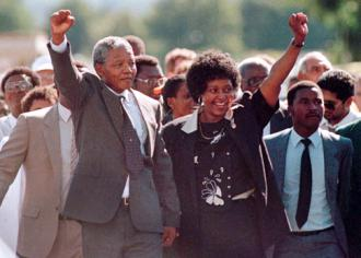 Nelson Mandela walks out of prison