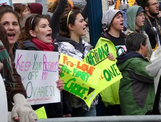 Supporters of a women's right to choose protest an anti-abortion demonstration in San Francisco  (Jeffrey Boyette | SW)